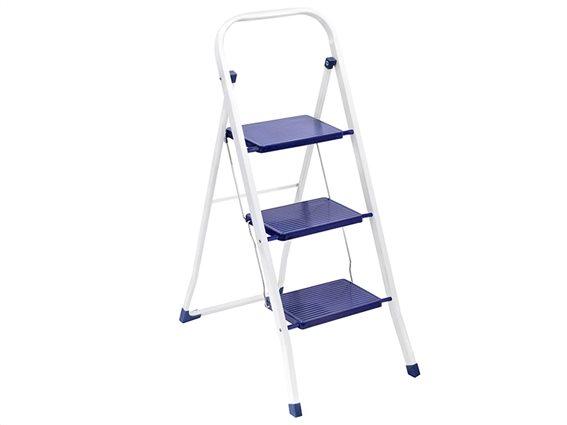 Μεταλλική Πτυσσόμενη Σκάλα Σκαλοσκαμπό 3 επιπέδων σε μπλε χρώμα, 46x74x105 cm