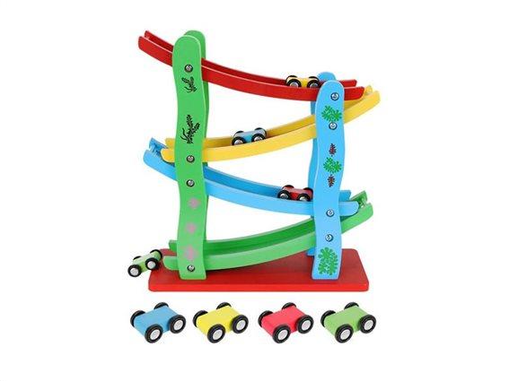 Aria Trade Παιδική Ξύλινη Πίστα Αγώνων Τσουλήθρα με 4 αυτοκινητάκια, 24.5x10x28 cm