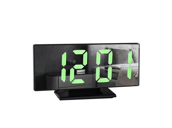 Aria Trade Ψηφιακό Ρολόι 4 σε 1 με Καθρέπτη, Ξυπνητήρι και Θερμόμετρο με  LED φωτισμό σε μαύρο χρώμα, 19x10 cm