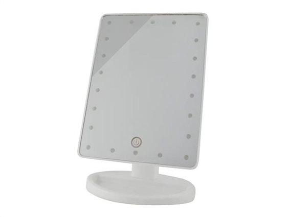 Aria Trade Περιστρεφόμενος Καθρέπτης Μακιγιάζ με 22 LED και βάση σε λευκό χρώμα, 12.5x16.5x26cm