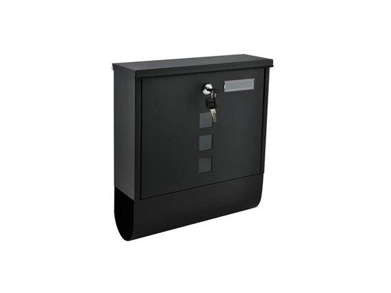 Malatec Γραμματοκιβώτιο από Ανοξείδωτο Ατσάλι με κλειδαριά και θέση για εφημερίδα σε μαύρο χρώμα