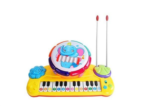 Aria Trade Παιδικό Μουσικό Όργανο Αρμόνιο και Τύμπανο 2 σε 1 με μελωδίες, 34x20x11 cm, O9450