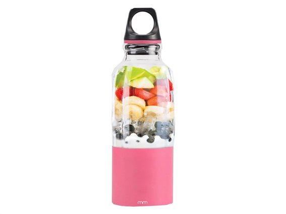 Επαναφορτιζόμενο Μπουκάλι Ανάδευσης Blender Bottle με LED σε ροζ χρώμα, 8x8x25 cm