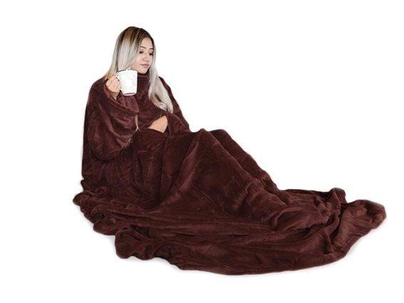 Κουβέρτα με Μανίκια Snugs Deluxe Fleece σε καφέ χρώμα, 215x150 cm