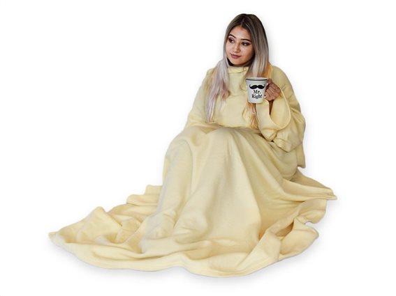 Κουβέρτα με Μανίκια Snug Rug Fleece σε μπεζ χρώμα, 140x180 cm