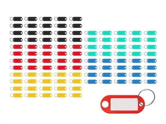 Σετ Μπρελόκ Ετικέτα Κλειδιών 100 τεμαχίων σε διάφορα χρώματα, 6.5x2.1 cm