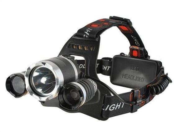 Επαναφορτιζόμενος Φακός Κεφαλής 3 LED 3800lm 5W, 17.5x9x9 cm, LC5868