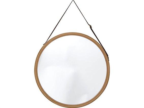 Κρεμαστός Στρογγυλός Καθρέπτης Μπάνιου με πλαίσιο από Bamboo και Λουράκι, διαμέτρου 38 cm