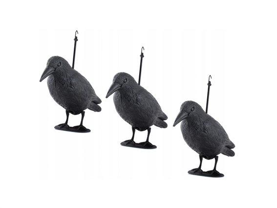 Σετ Απωθητικά πτηνών ομοίωμα κοράκι 3 τεμαχίων με άγκιστρα σε γκρι χρώμα, 40x20x13 cm