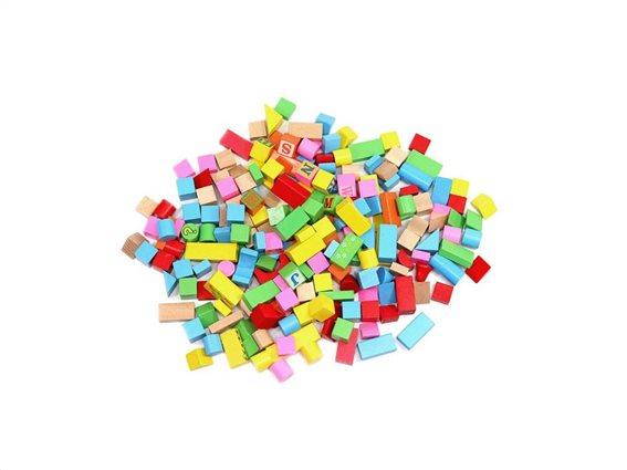 Σετ Ξύλινα Τουβλάκια 200 τεμαχίων με δοχείο μεταφοράς, 32x22.2 cm, Wooden blocks set