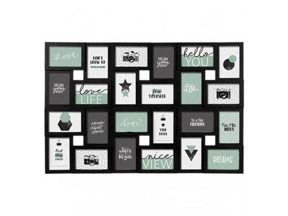 Κορνίζα Τοίχου για 24 φωτογραφίες σε μαύρο χρώμα, Black Cali, 86x2.2x57 cm