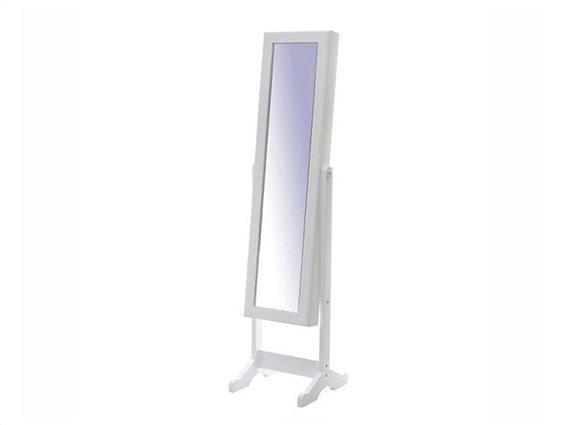 Ξύλινος Ολόσωμος Καθρέπτης Δαπέδου Μπιζουτιέρα σε λευκό χρώμα, 37x35x145 cm