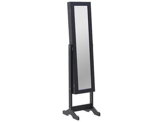 Ξύλινος Ολόσωμος Καθρέπτης Δαπέδου Μπιζουτιέρα σε μαύρο χρώμα, 37x35x145 cm