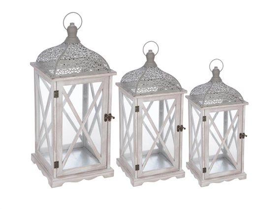 Σετ Ξύλινα Διακοσμητικά Φαναράκια 3 τεμαχίων σε λευκό χρώμα, Folkdream