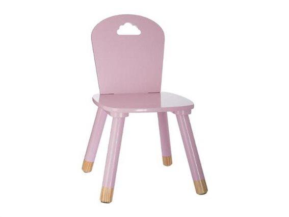 Aria Trade Παιδική Καρέκλα Ξύλινη Συννεφάκι Pink 32x29.5x50 cm