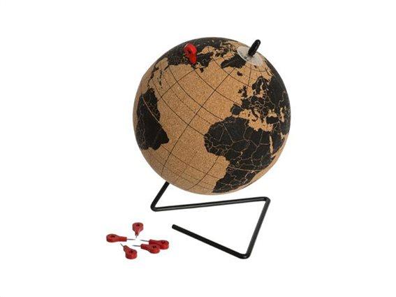 Aria Trade Υδρόγειος Σφαίρα 15cm από Φελλό με Χάρτη στα Αγγλικά και Πινέζες