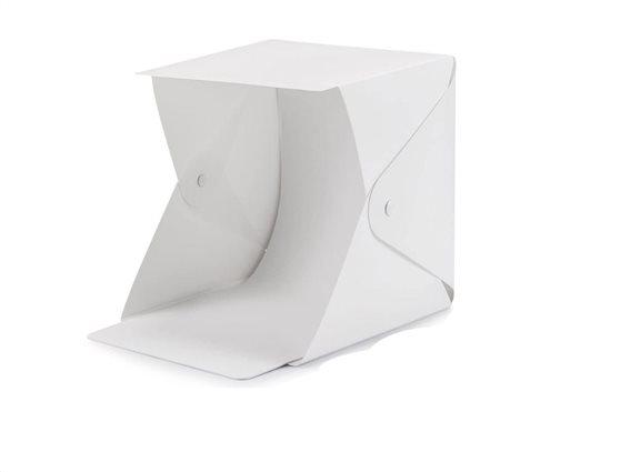 Μίνι Φωτογραφικό Αναδιπλούμενο Studio Photo Box Tent με LED Φωτισμό και 2 backgrounds, 23x23 cm