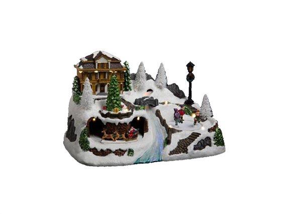 Χριστουγεννιάτικό διακοσμητικό Καρουζέλ με απεικόνιση χειμερινό σαλέ με Led Φωτισμό, 31x19.5x19.50cm