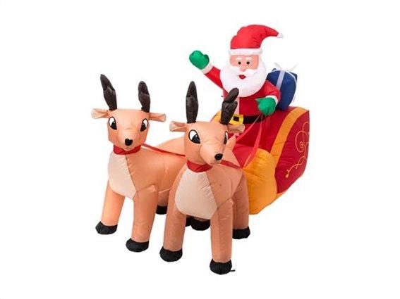 Aria Trade Διακοσμητικός Φουσκωτός Άγιος Βασίλης με Μουσική, Έλκηθρο και Ταράνδους 180x63x113cm