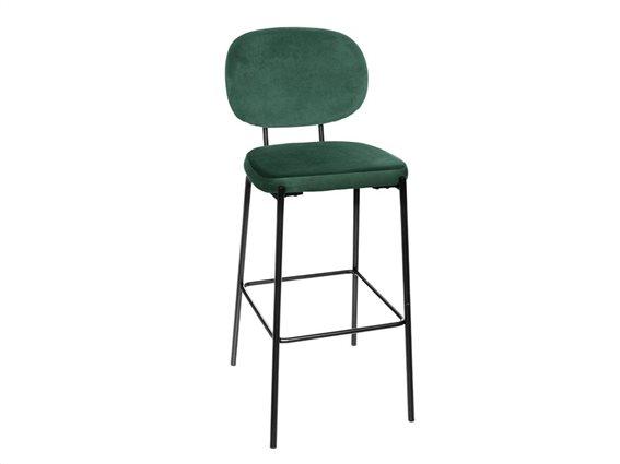 Μεταλλικό Σκαμπό Μπαρ με μεταλλική βάση και βελούδινο κάθισμα σε Πετρολ χρώμα, 43x55x108 cm