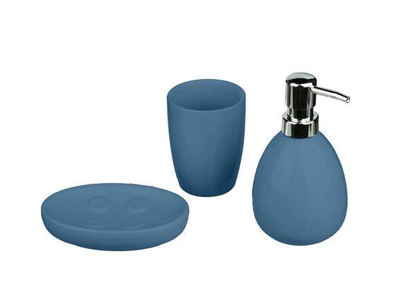 Κεραμικό Σετ Μπάνιου 3 τεμαχίων με Σαπουνοθήκη, Dispenser και Ποτήρι, Sun Navy Blue