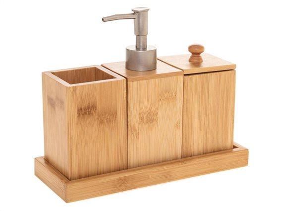 Bamboo Σετ Μπάνιου Ξύλινο Καφέ 3τμχ 160913