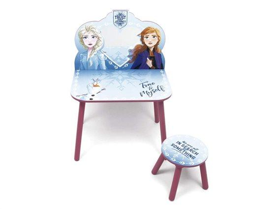 Frozen II Παιδικό Μπουντουάρ Σετ Ξύλινο Τραπεζάκι με σκαμπό και καθρέφτη 60x40x85 cm
