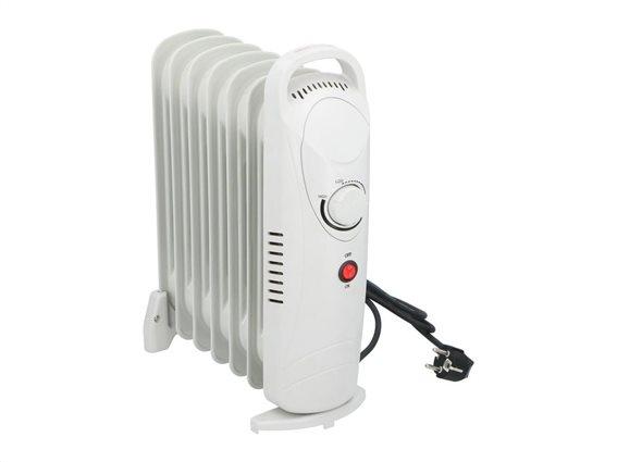 Καλοριφέρ λαδιού 850W με ρυθμιζόμενο θερμοστάτη σε λευκό χρώμα, 13.5x30x39 cm, Alpina