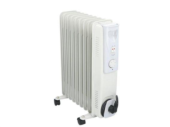 Καλοριφέρ λαδιού 2000W με ρυθμιζόμενο θερμοστάτη σε λευκό χρώμα, 23.5x40x55 cm, Alpina