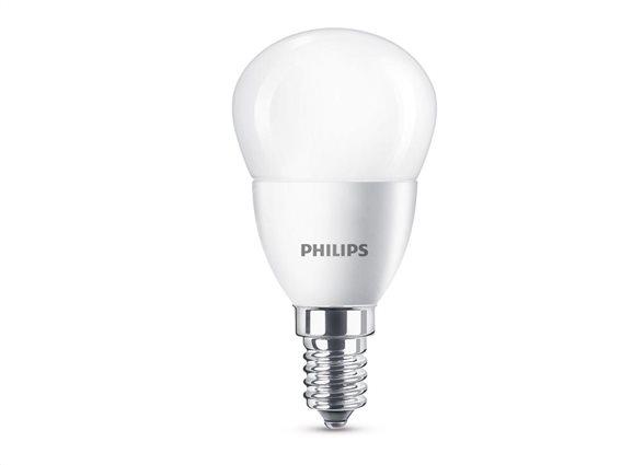 Philips Λάμπα LED E14 5.5W P48 470Lumen σε χρώμα θερμό λευκό, Sfera 40W Ε14