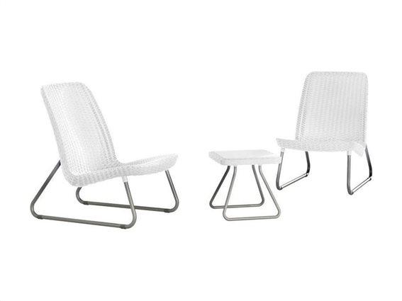 Keter Σετ Επίπλων Βεράντας 3 Τεμαχίων, 2 καρέκλες και τραπεζάκι σε λευκό χρώμα, Rio 218155