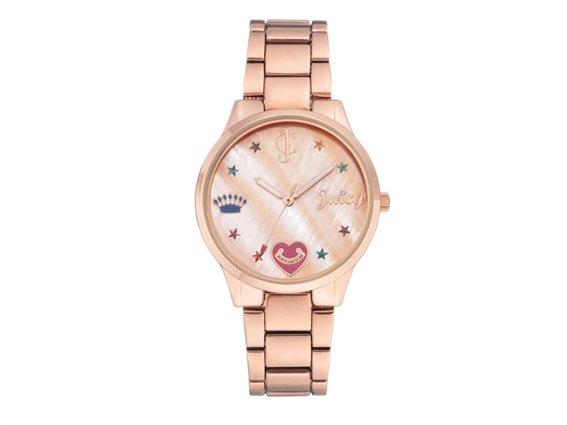 Juicy Couture Γυναικείο Ρολόι Αναλογικό, 36mm με μπρασελέ-κούμπωμα ασφαλείας, JC/1016RMRG