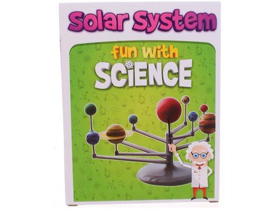 Εκπαιδευτικό παιχνίδι ζωγραφικής με το ηλιακό σύστημα, πλανήτες και βάση στήριξης, 22x 17 x 6 cm