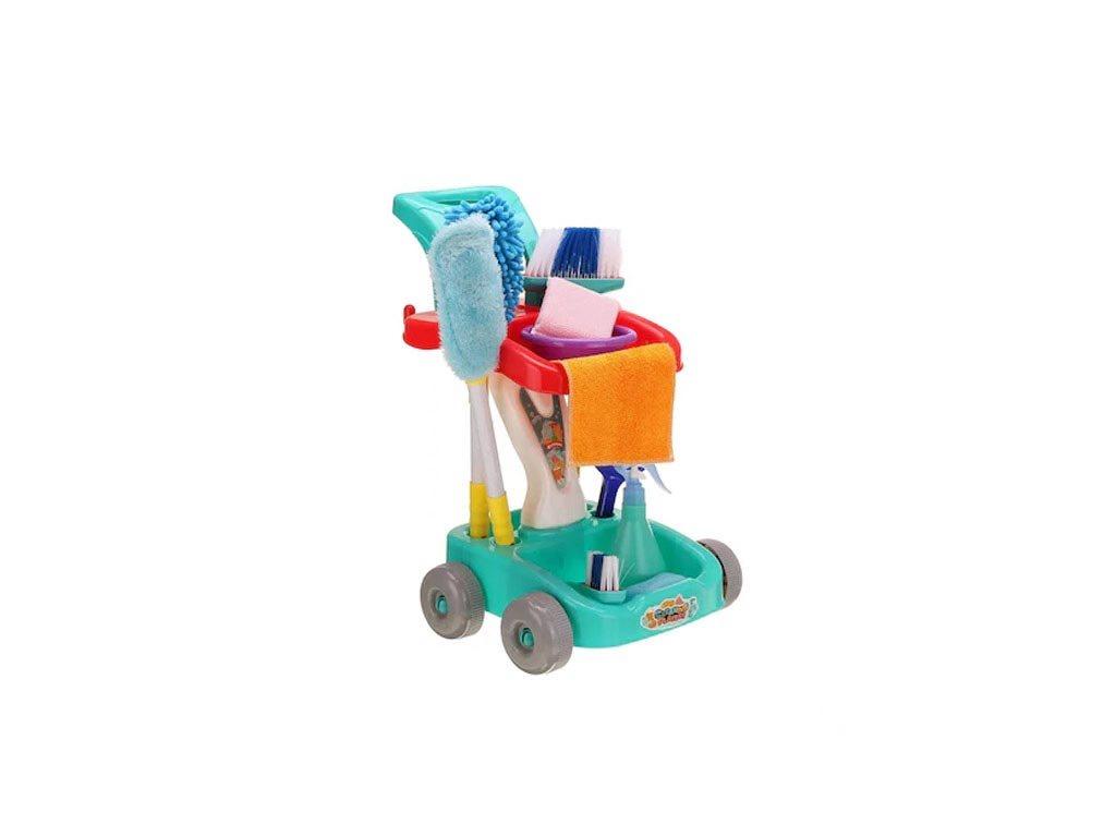 Σετ Παιδικό Καροτσάκι Τρόλεϊ καθαρισμού 12 τεμαχίων σε μπλε χρώμα με αξεσουάρ, 51x40x30 cm