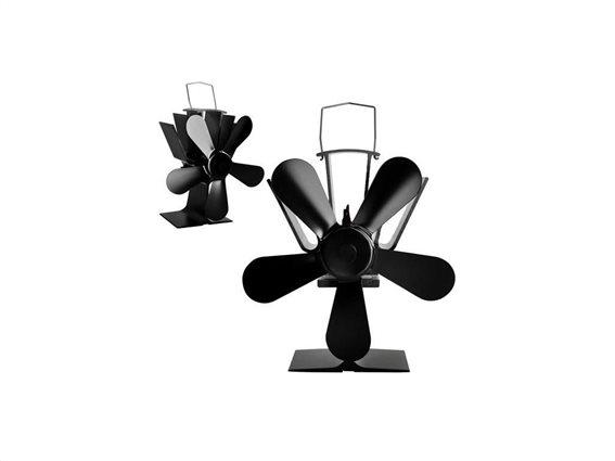 Ανεμιστήρας για τζάκι και ξυλόσομπα με 5 έλικες για ισορροπημένη θερμοκρασία, 10.5x7.5x24 cm