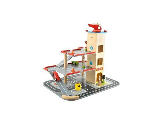 Σετ Παιδικό Παιχνίδι Ξύλινο Γκαράζ με ελικοδρόμιο, 36x48x42 cm