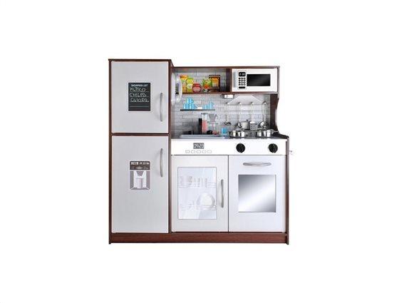 Ξύλινη Παιδική Κουζίνα, Πλυντήριο πιάτων και Ψυγείο Παιχνίδι Μίμησης με διαστάσεις 80.5x80cm