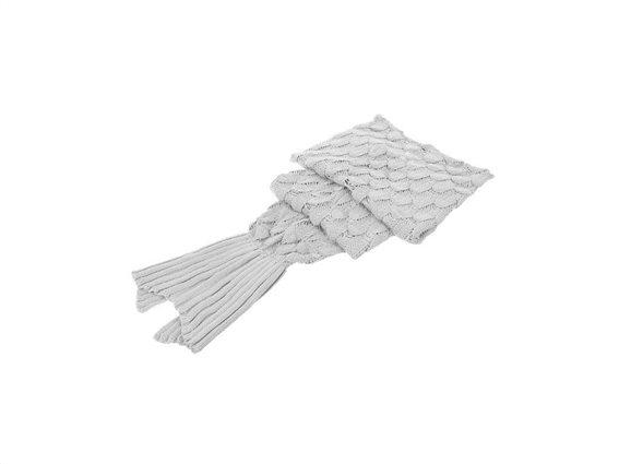 Πλεκτή Κουβέρτα σε σχήμα Ουράς Γοργόνας ενηλίκων με άνοιγμα στο πάνω και κάτω μέρος, 190x45 cm