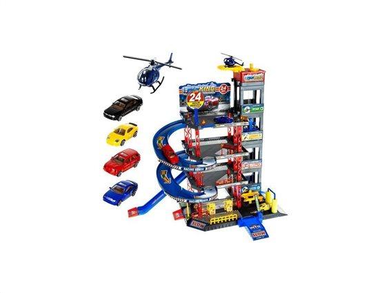 Παιδικό Παιχνίδι Γκαράζ Πάρκινγκ Αυτοκινήτων 4 επιπέδων με 4 οχήματα και ελικοδρόμιο, 46x35 cm