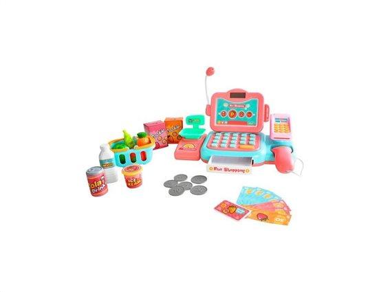 Παιδική Ταμειακή Μηχανή με Scanner, Κάρτες, Χρήματα, Ζυγαριά και ψώνια σε ροζ χρώμα, 24x14x14 cm