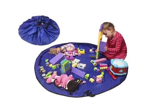 Aria Trade Σάκος Αποθήκευσης - Αναδιπλούμενο Χαλί Παιχνιδιών Play Mat & Sack Μπλε 150cm