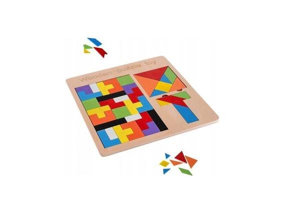 Ξύλινο Παζλ Σετ Πλακιδίων 3 σε 1 με 37 κομμάτια, 22.5x22.5x0.8 cm, Jigsaw puzzle