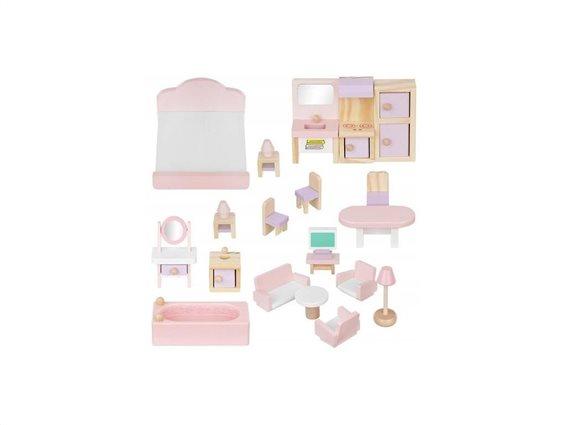 Σετ Ξύλινα έπιπλα για κουκλόσπιτο 22 τεμαχίων σε ροζ λευκό χρώμα, Doll house accessories