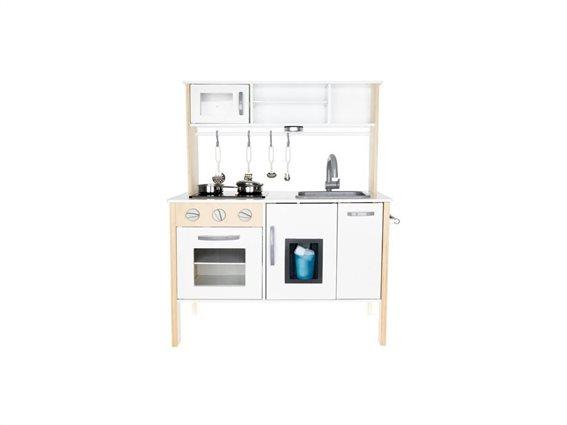 Ξύλινη Παιδική Κουζίνα με φωτισμό και διάφορα αξεσουάρ, 70x89.5x30 cm, Wooden kitchen
