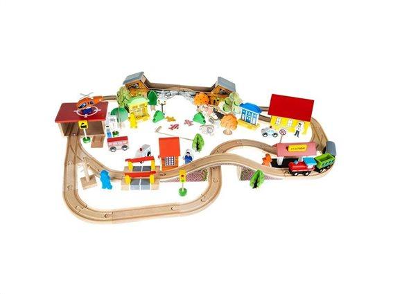 Σετ Ξύλινος Συναρμολογούμενος Σιδηρόδρομος 89 τεμαχίων, 67x95x12 cm, Toy Railway
