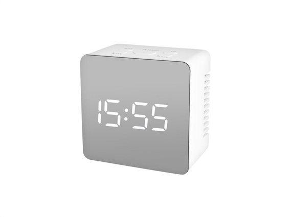 Ψηφιακό Τετράγωνο Ρολόι Ξυπνητήρι Καθρέφτης, σε μαύρο χρώμα,  8x8x3.5 cm