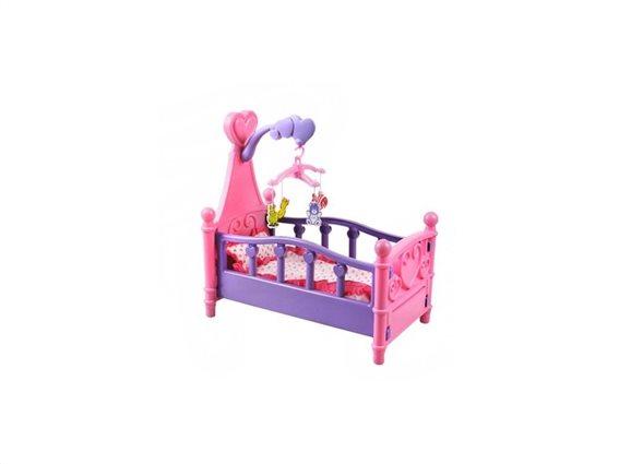 Παιδικό παιχνίδι κούνια, κρεβάτι κούκλας  με καρουσελ, 49x49x29cm
