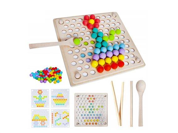 Ξύλινο Επιτραπέζιο Παιχνίδι με αξεσουάρ και Μπάλες σε διάφορα χρώματα, Wooden beads puzzle