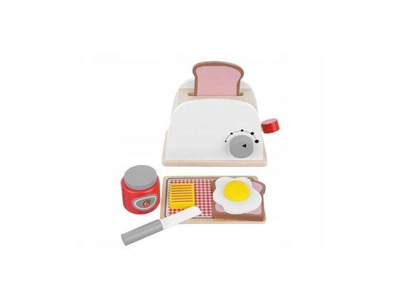 Ξύλινο Παιχνίδι Σετ Φρυγανιέρα με αξεσουάρ 8 τεμαχίων, Wooden toaster set