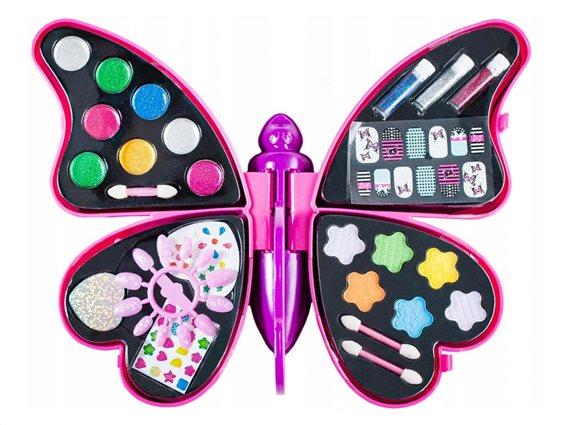 Παιδική παλέτα μακιγιάζ make up με σκιές και lip gloss σε σχήμα πεταλούδας, 34x27 cm, Make up kit
